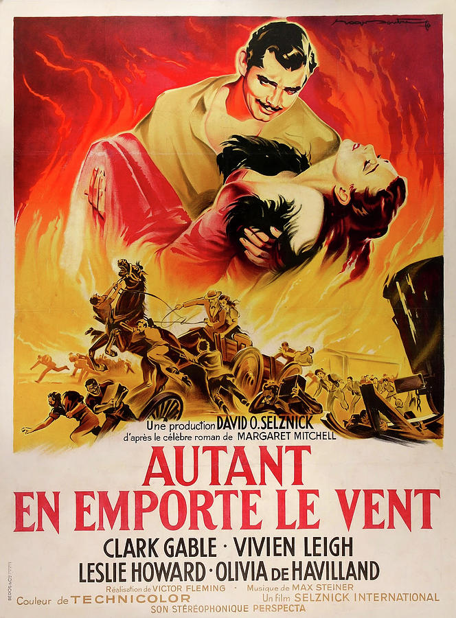 gone With The Wind French Movie Poster 1939 Mixed Media