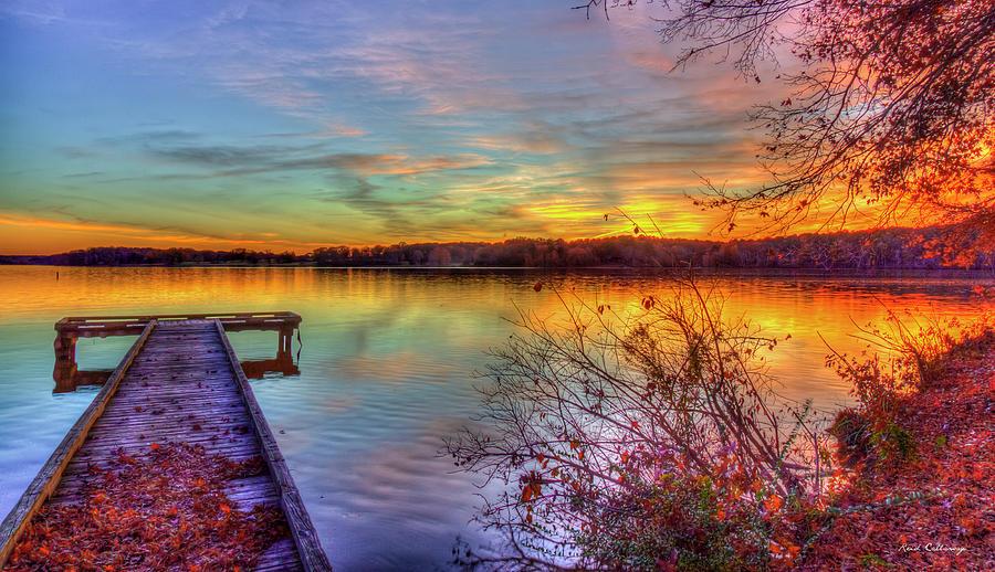 Good Bye Until Tomorrow 7 Fall Leaves Sunset Lake Oconee Georgia Landscape Art by Reid Callaway