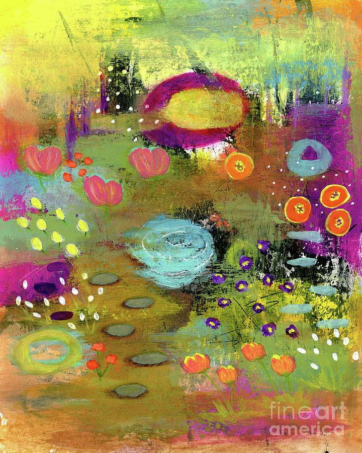 Abstract Landscape Painting - Good Things Happen 1 Abstract Landscape Floral Painting by Itaya Lightbourne