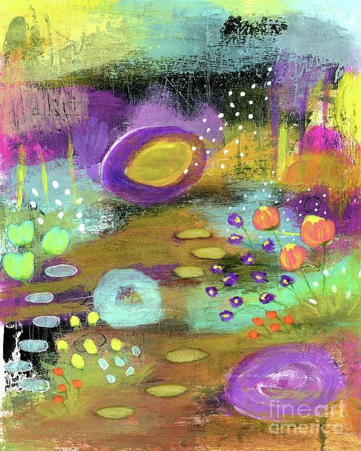 Flower Garden Painting - Good Things Happen 2 Abstract Floral Garden Painting by Itaya Lightbourne