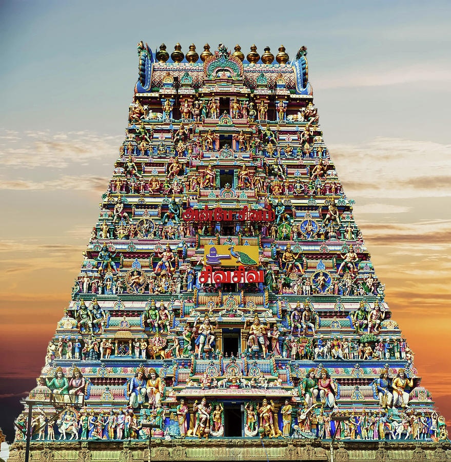 Gopuram sculptures as entrance to Kapaleshwara  by Steve Estvanik