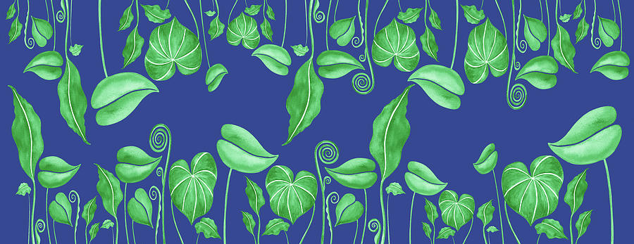 Gorgeous Green Exotic Leaves On Blue Pattern Painting