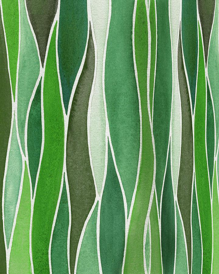 Gorgeous Organic Whimsical Grass In Batik Watercolor Garden II Painting