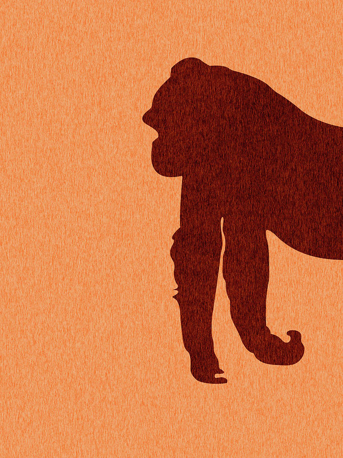 Gorilla Silhouette - Scandinavian Nursery Decor - Animal Friends - For Kids Room - Minimal Mixed Media