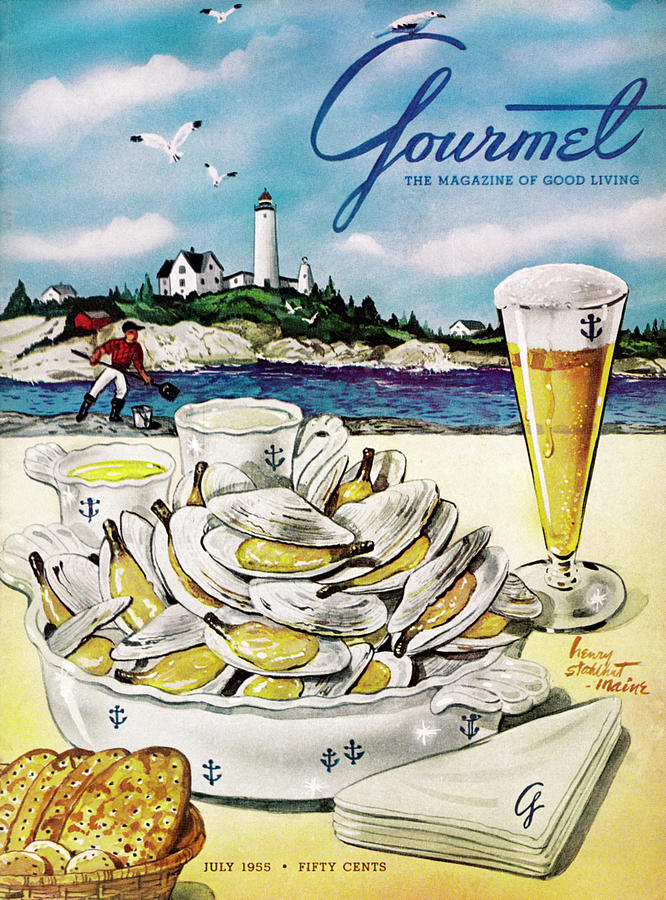 Gourmet Cover of Clams and Beer Painting by Henry Stahlhut