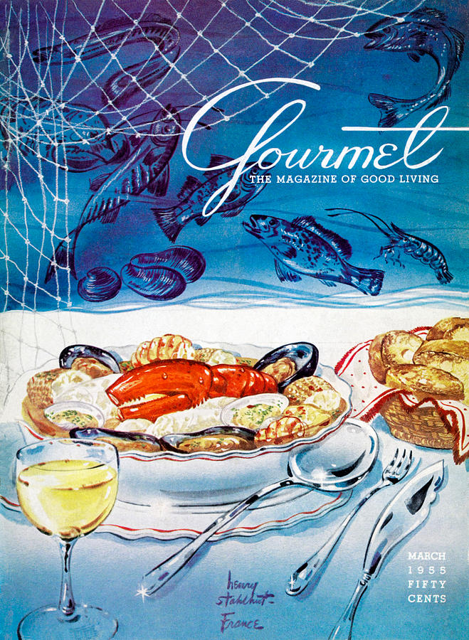 Gourmet Magazine March 1955 Painting by Henry Stahlhut