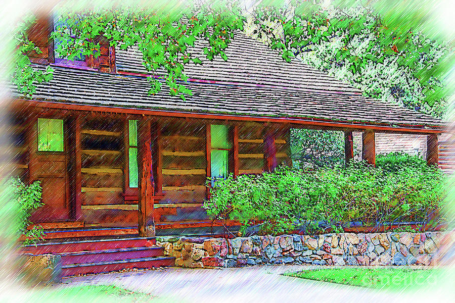 Historic Digital Art - Governors Mansion Arizona Sketched by Kirt Tisdale