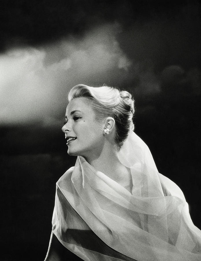 Grace Kelly in White Chiffon Photograph by Jean Howard