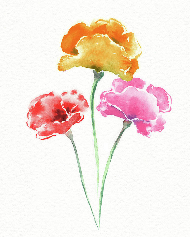 Graceful Beauty Botanical Watercolor Three Iceland Poppies Flowers Painting