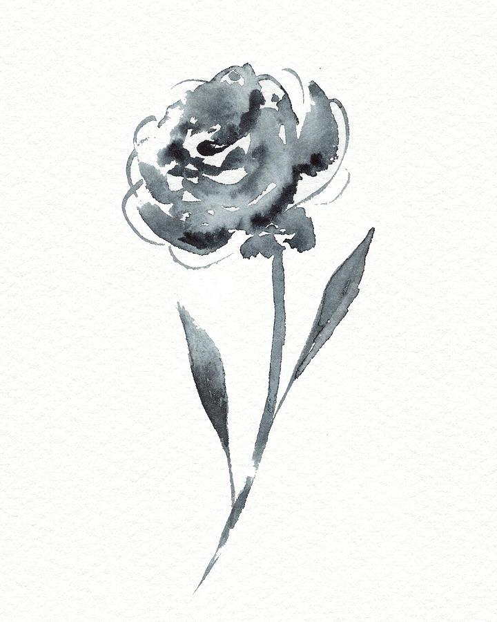 Flower Watercolor Painting - Graceful Simple Beauty Botanical Gray Watercolor Flower I by Irina Sztukowski
