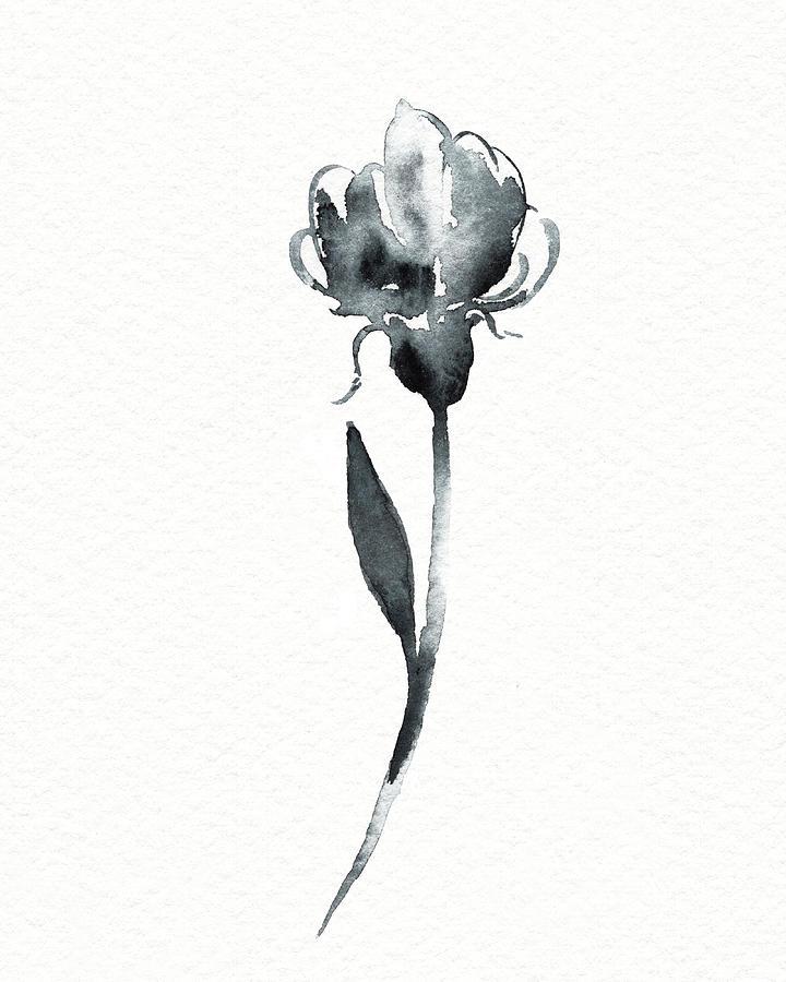 Graceful Simple Beauty Botanical Gray Watercolor Flower II Painting