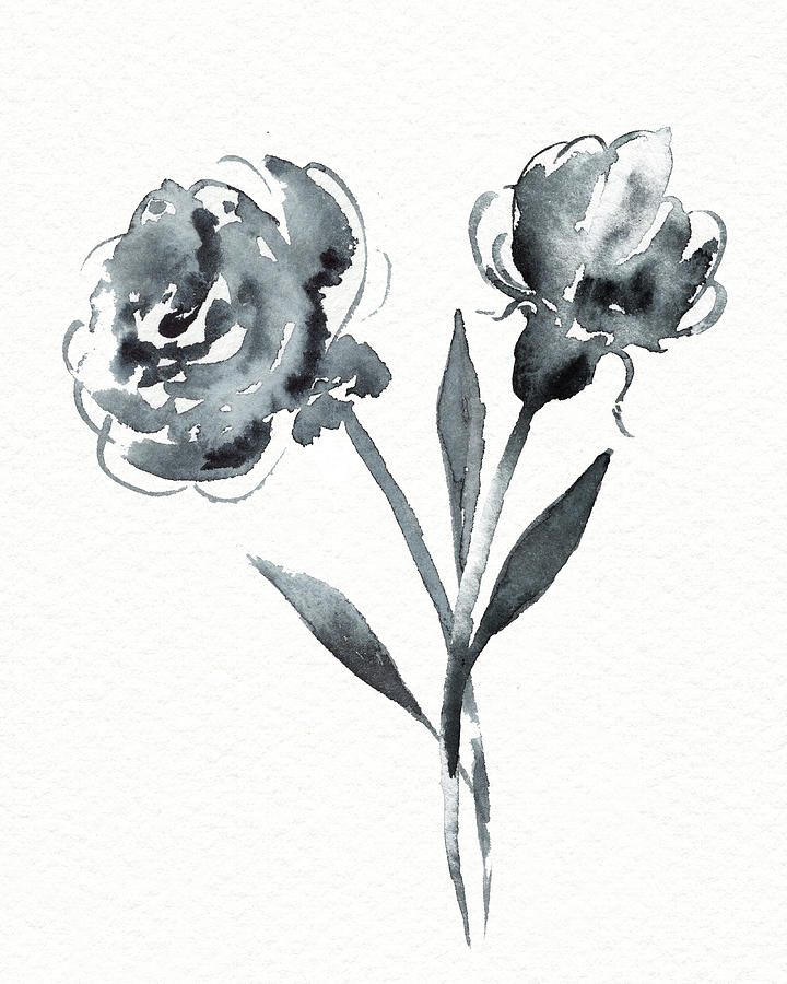 Graceful Simple Beauty Botanical Gray Watercolor Flowers Painting