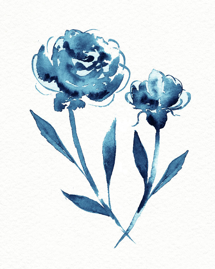 Graceful Simple Beauty Botanical Indigo Blue Watercolor Flowers Painting