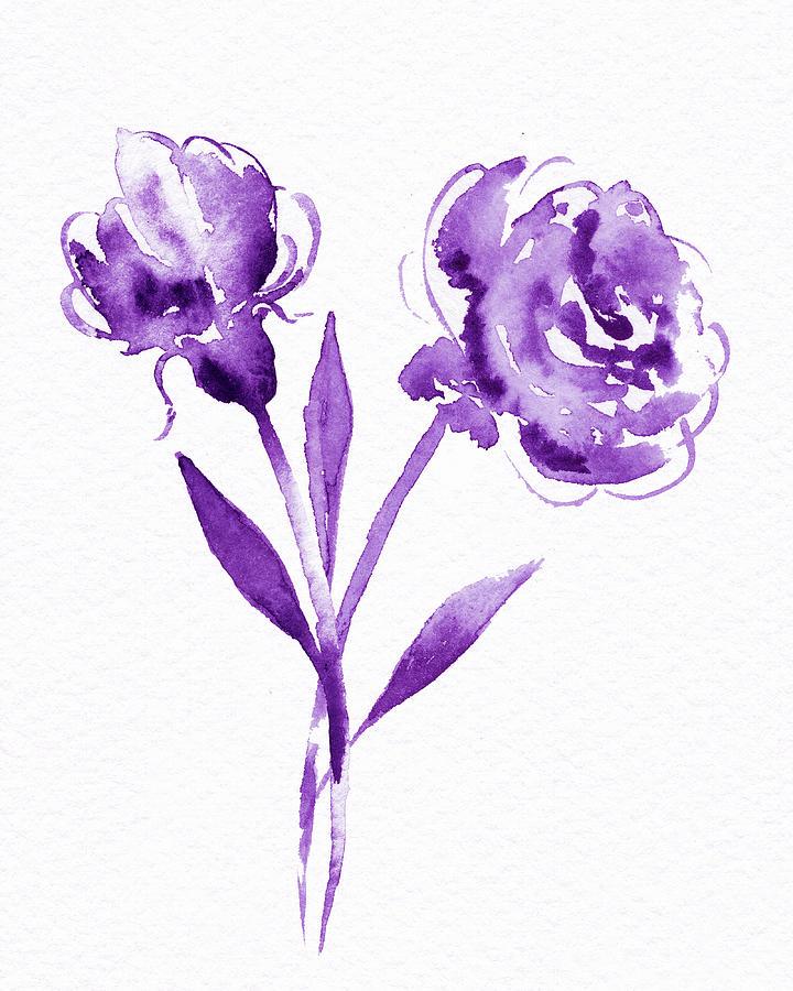 Graceful Simple Beauty Botanical Purple Watercolor Flowers Painting