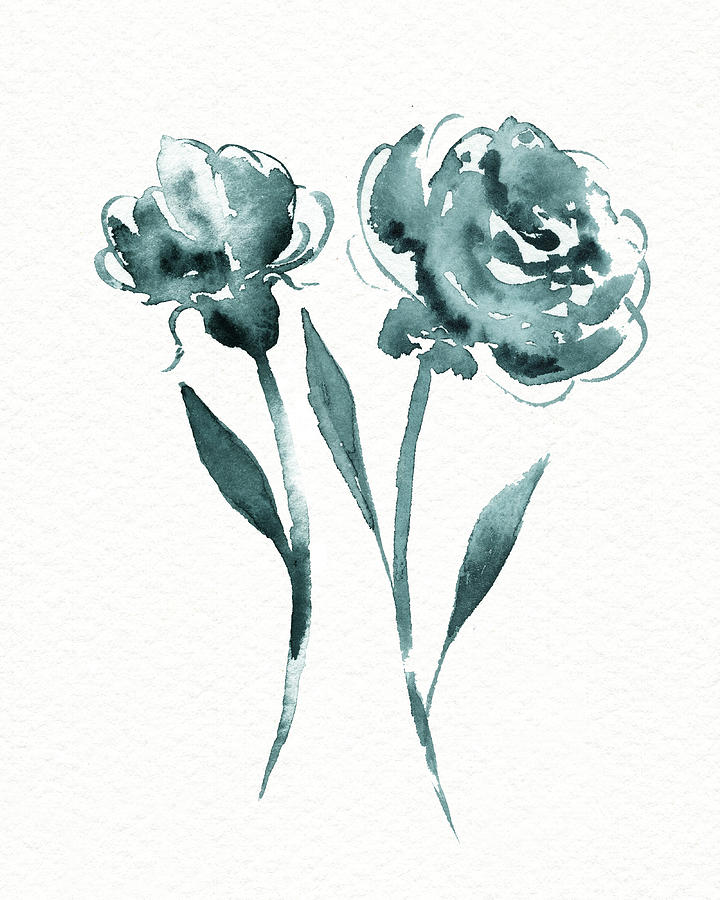 Graceful Simple Beauty Botanical Teal Gray Watercolor Flowers Painting