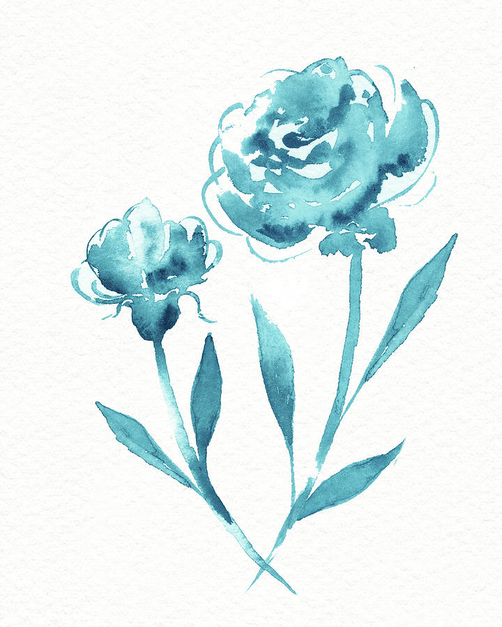 Graceful Simple Beauty Botanical Turquoise Blue Watercolor Flowers Painting