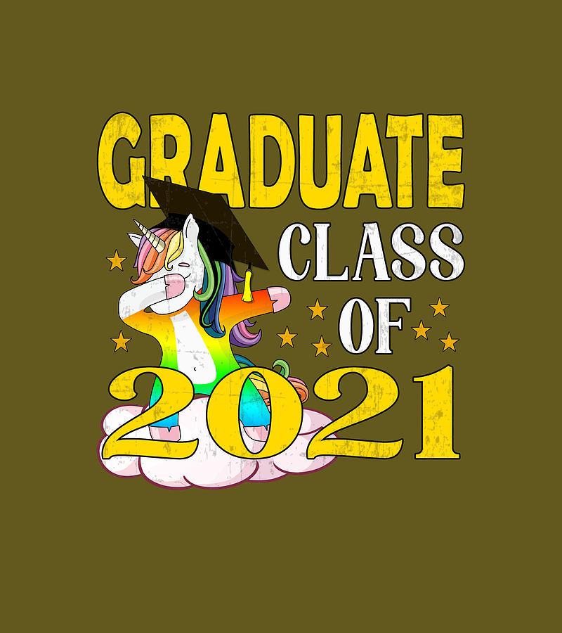 Graduate Class Of 2021 Dabbing Unicorn Graduation Proud Digital Art