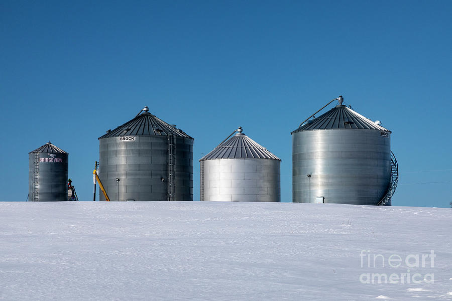 Farm Photograph - Grain Bins in Winter by Jim West