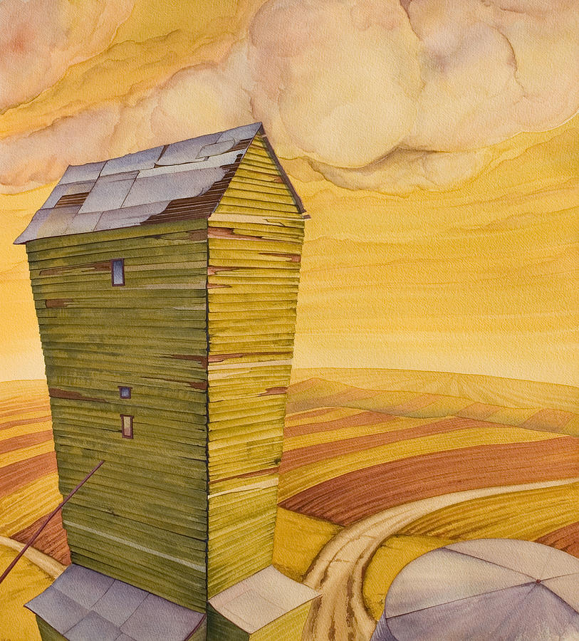 High Plains Painting - Grain Tower - II by Scott Kirby