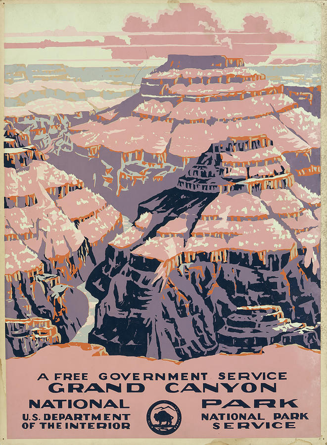 Grand Canyon National Park Vintage Poster Drawing