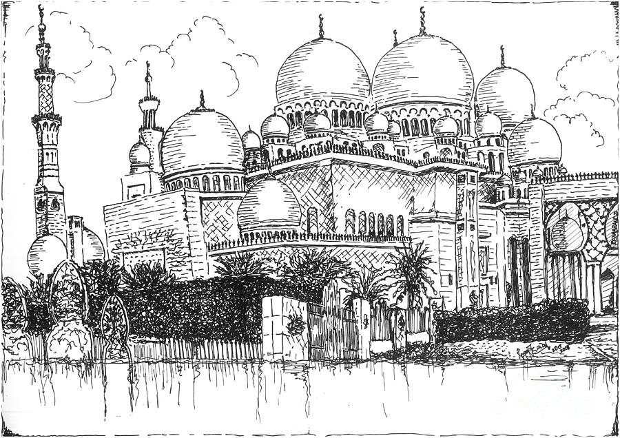 Grand Mosque Abu Dhabi Drawing - Grand Mosque Abu Dhabi by Remy Francis
