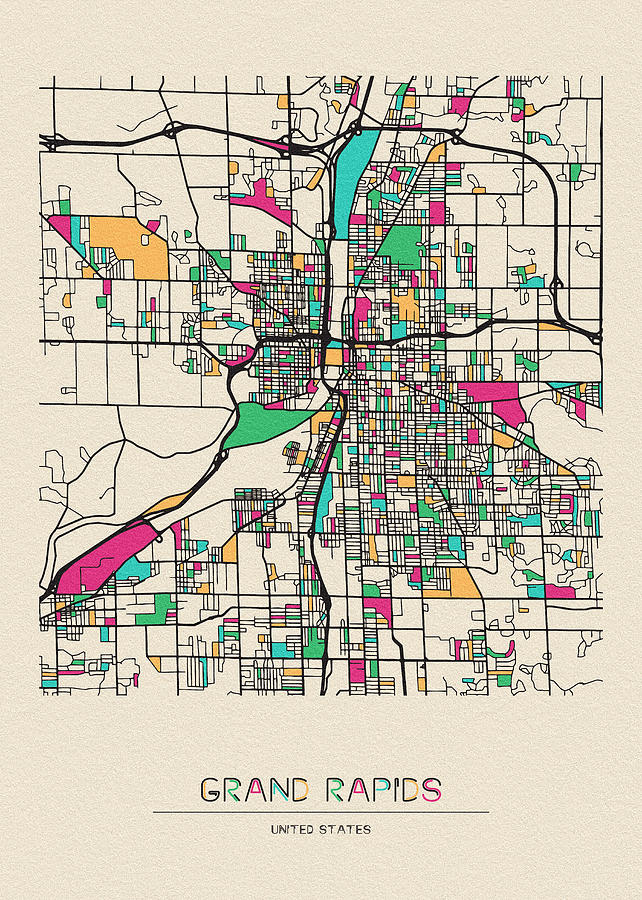 Grand Rapids Michigan City Map Drawing By Inspirowl Design