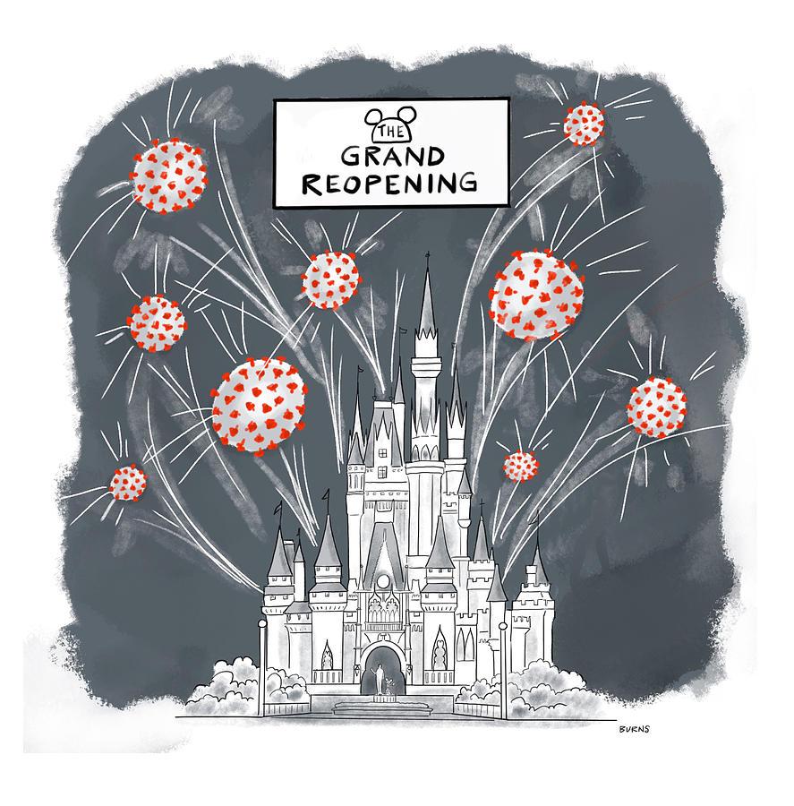 Grand Reopening Drawing by Teresa Burns Parkhurst