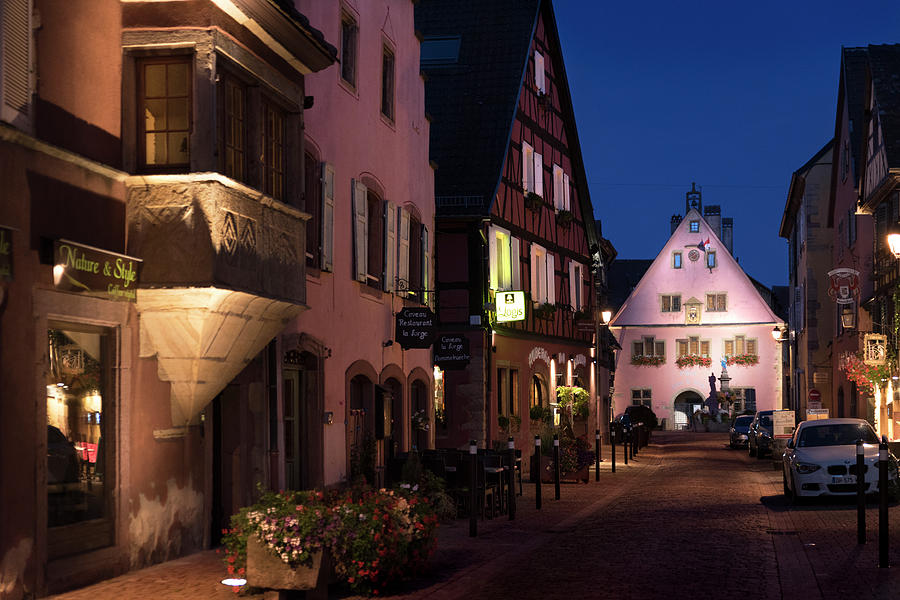 Grand-Rue and Place Turenne in Turckheim at nightfall by RicardMN Photography