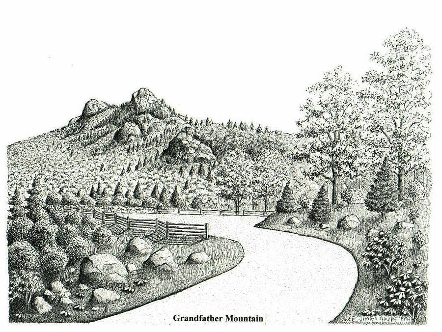 Grandfather Mountain Drawing - Grandfather Mountain by Lee Pantas