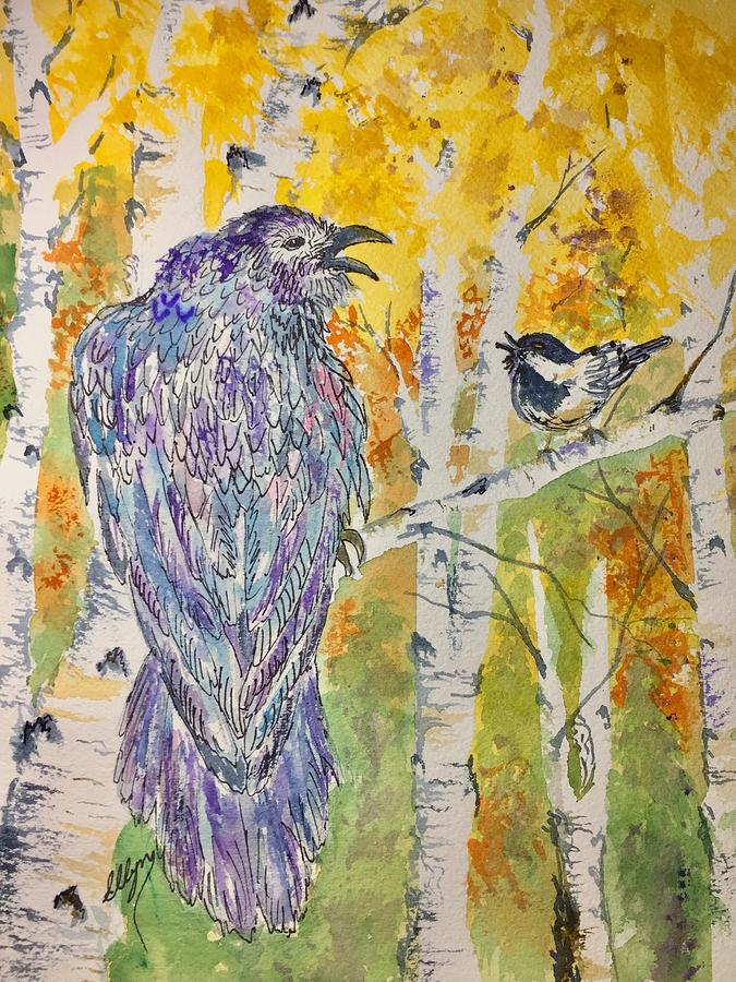 Raven Painting - Grandfather Tell Me A Story by Ellen Levinson
