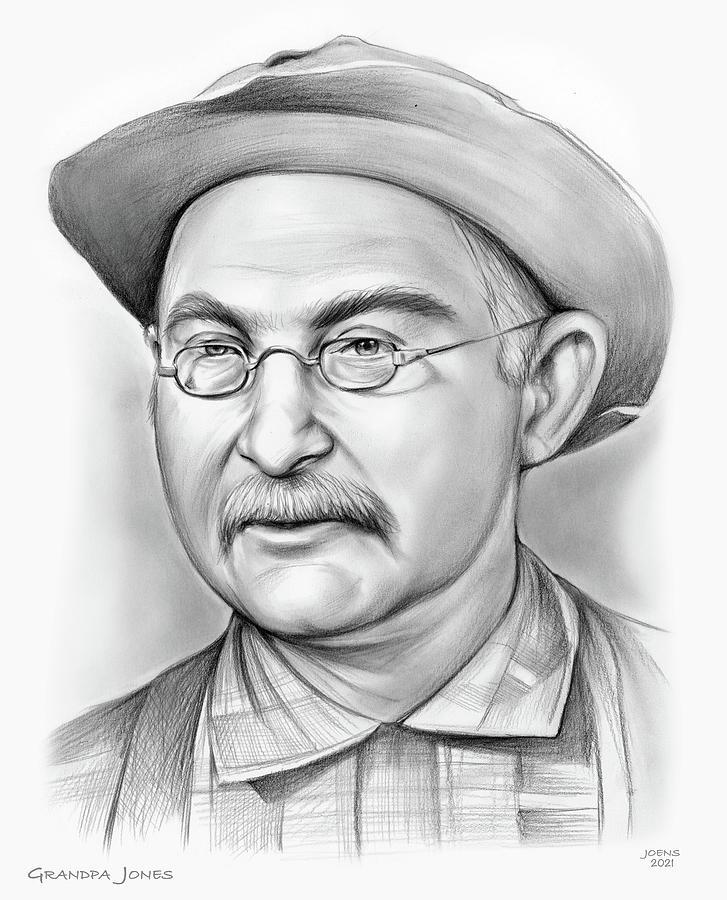 American Drawing - Grandpa Jones - pencil by Greg Joens