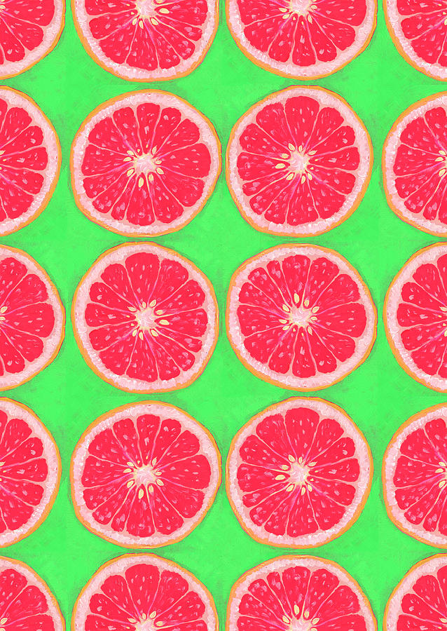 Grapefruits In Lime Digital Art