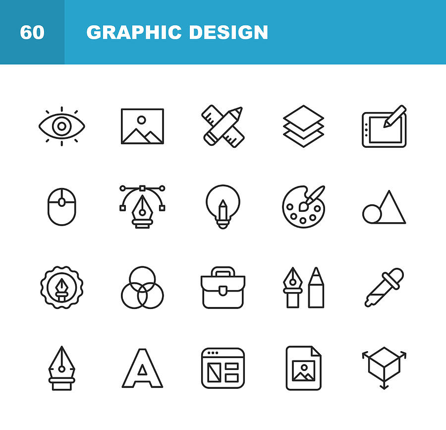 Graphic Design and Creativity Line Icons. Editable Stroke. Pixel Perfect. For Mobile and Web. Contains such icons as Creativity, Layout, Mobile App Design, Art Tools, Drawing Tablet, Typography, Colour Palette. Drawing by Rambo182