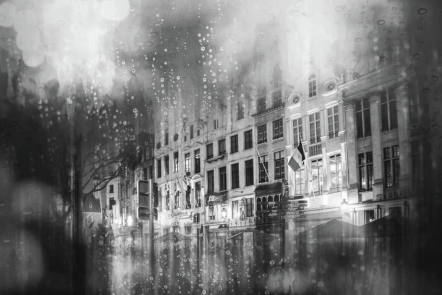 Grasmarkt Brussels Rainy Nights Black And White Photograph
