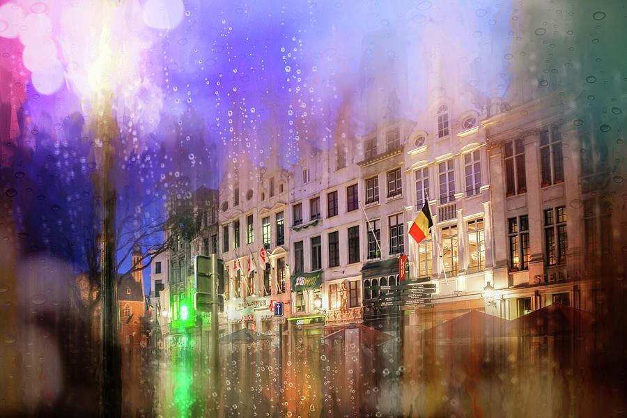 Grasmarkt Brussels Rainy Nights Photograph