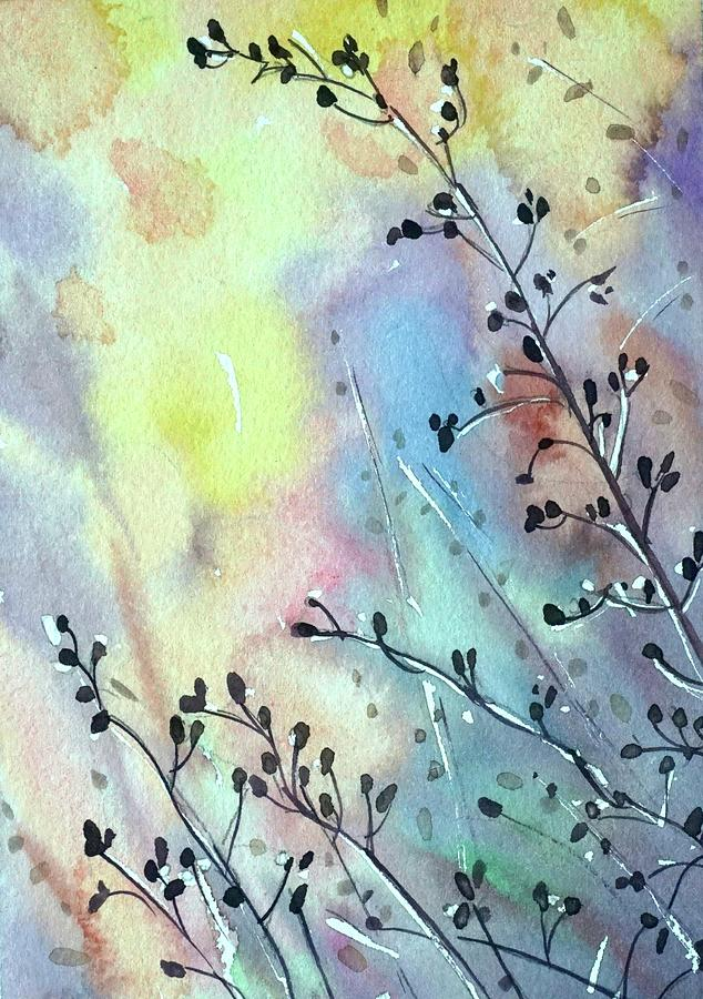Grasses At Sunset Painting