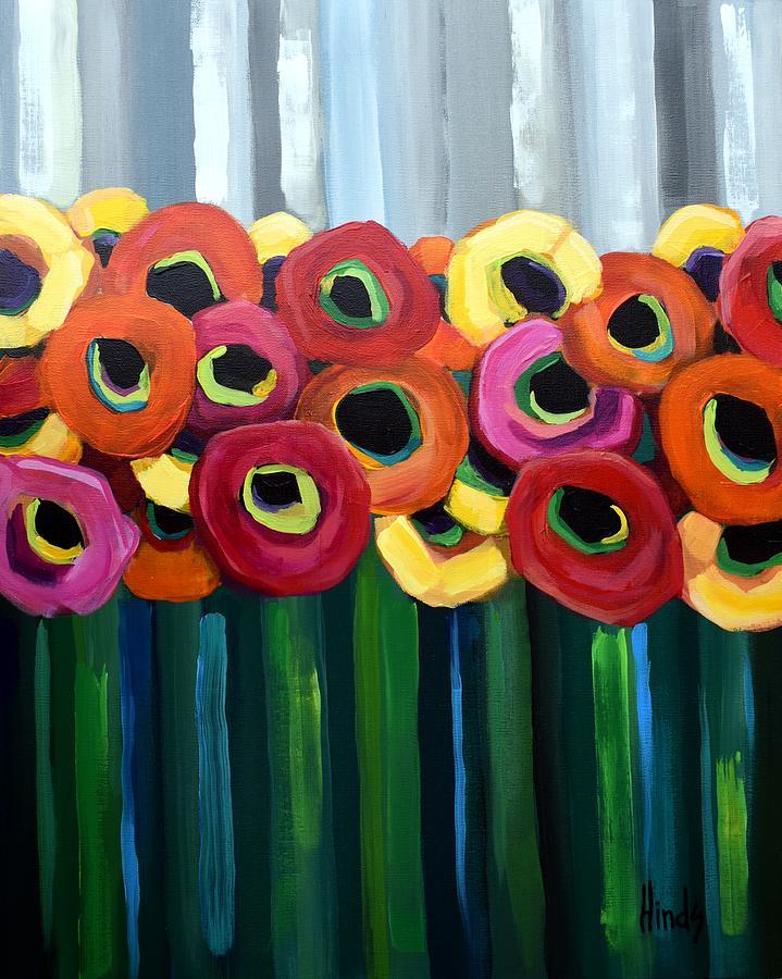 Gray Sky Poppies Painting
