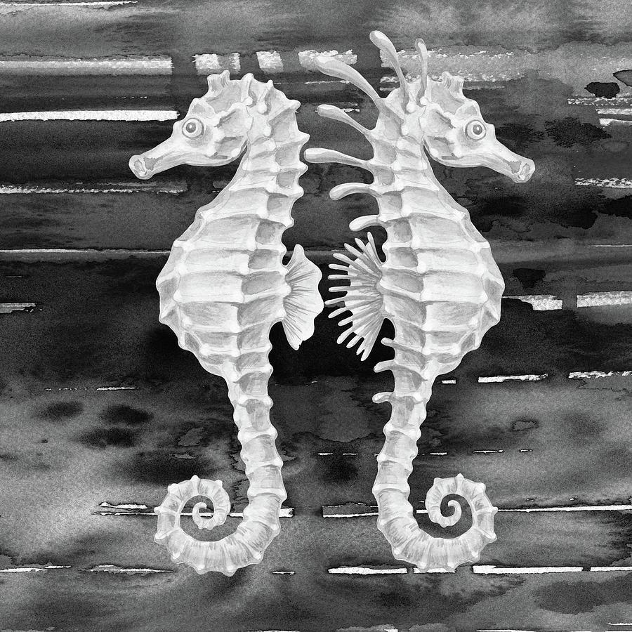 Gray Wave Seahorses Watercolor Painting