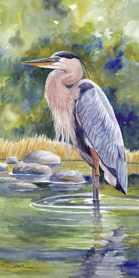Great Blue Heron in a Stream I by Janet Zeh