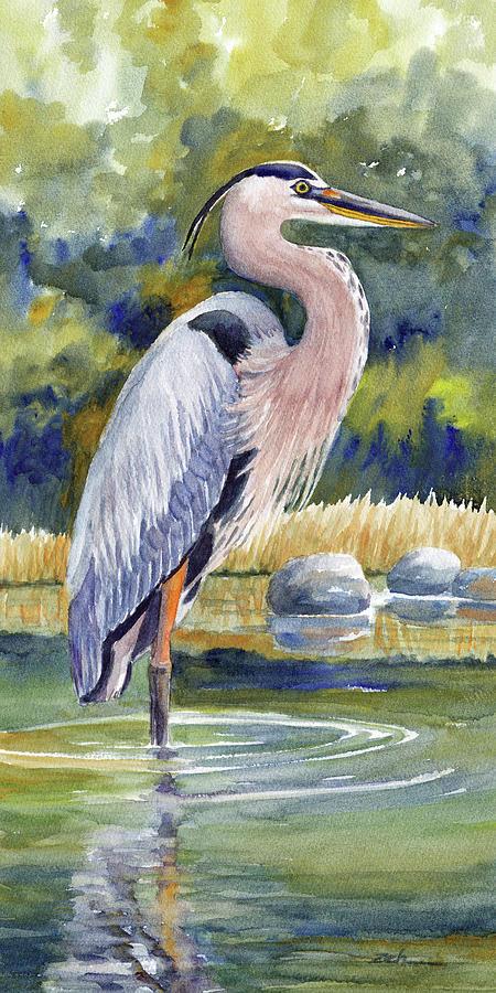 Great Blue Heron in a Stream II by Janet Zeh