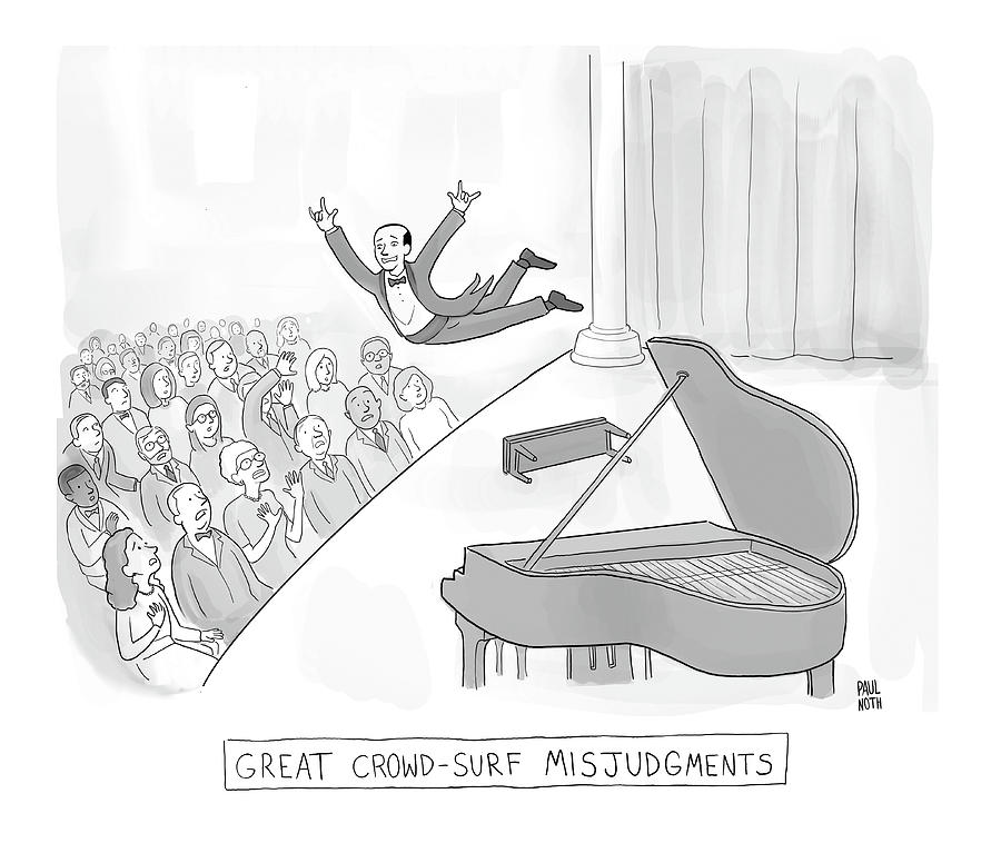 Great Crowd Surf Misjudgments Drawing by Paul Noth