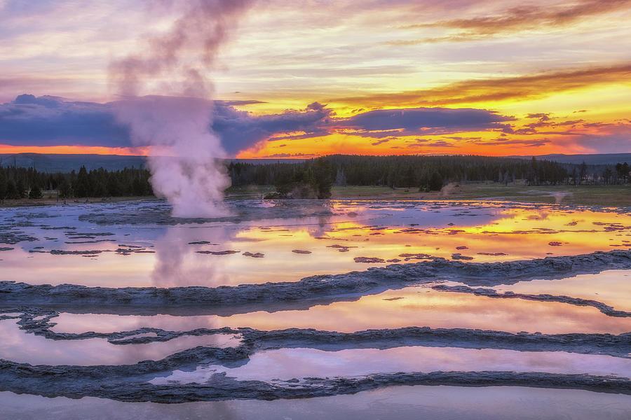 Great Geyser Sunset Photograph