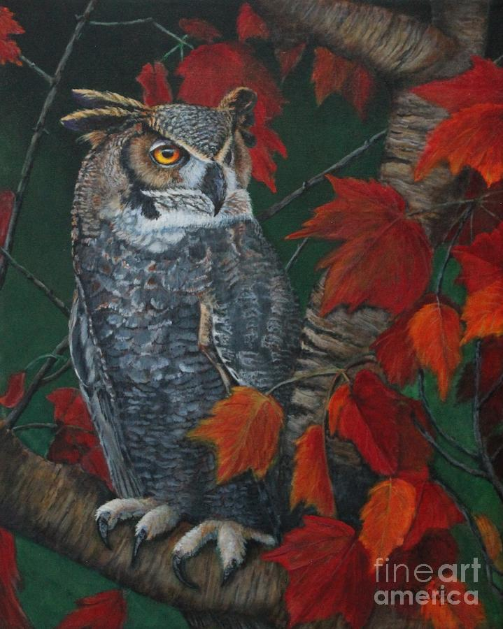 Owl Painting - Great Horned Owl by Bob Williams