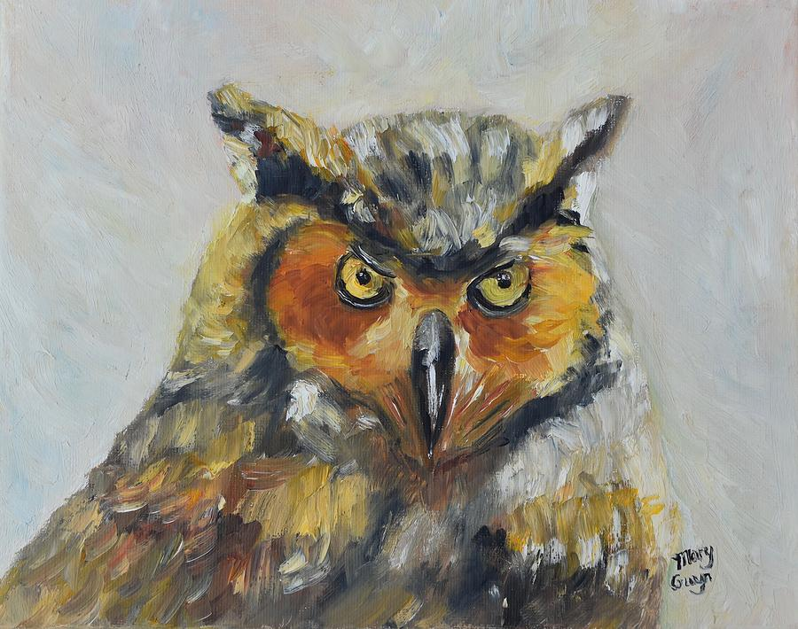 Owl Painting - Great Horned Owl by Mary Gwyn Bowen