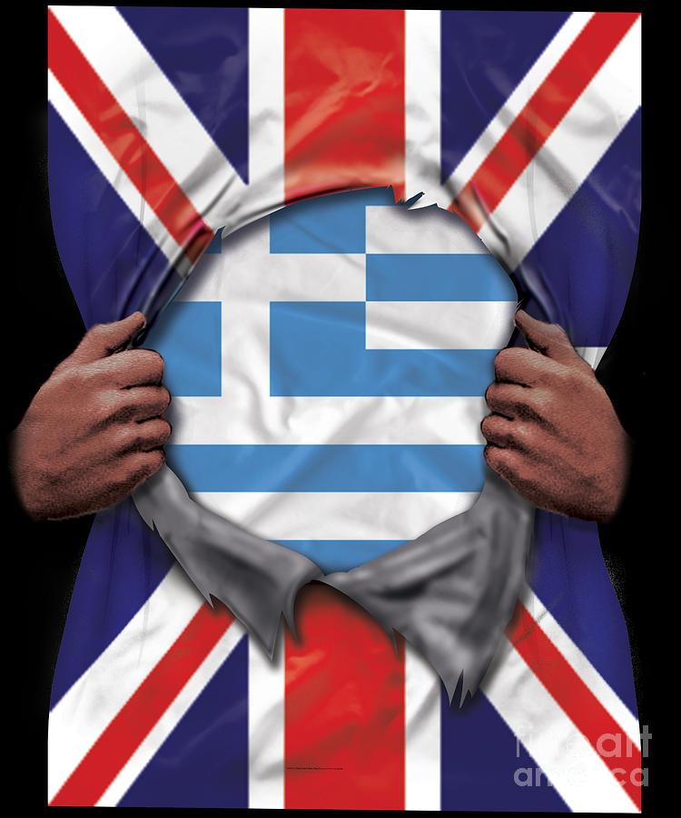 Greece Flag Great Britain Flag Ripped Digital Art By Jose O