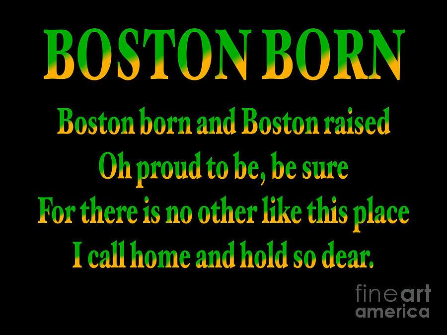 Green And Gold Boston Born Quote Digital Art