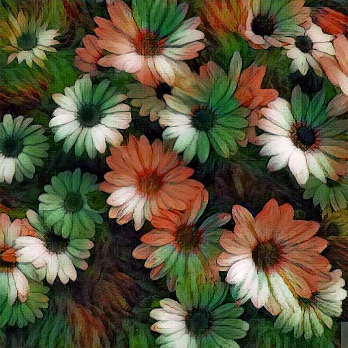 Green And Orange Flowers Photograph