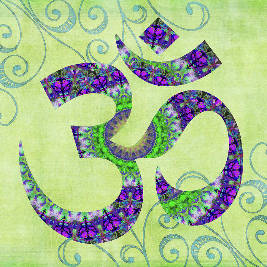 Yin Painting - Green And Purple Art - Om 9 - Sharon Cummings by Sharon Cummings