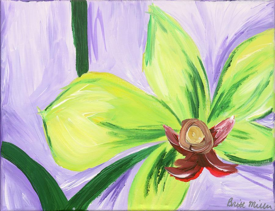 Green Painting - Green and Purple Flower by Britt Miller