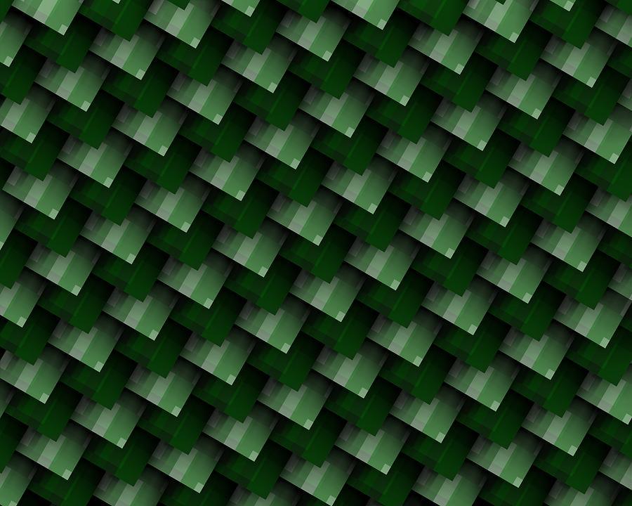 Green And White Diagonal Geometric Composition Digital Art